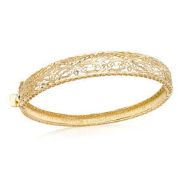 Designer Inspired - Italian Made 9K Yellow Gold Diamond Cut Bangle (Size 7), Gold wt 10.70 Gms.