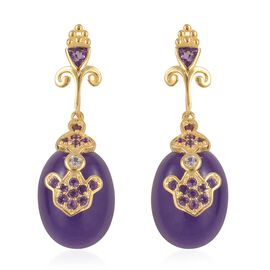 Purple Jade (Ovl), Amethyst and Natural White Cambodian Zircon Earrings (with Push Back) in Yellow Gold Overlay Sterling Silver 22.670 Ct.