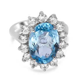 Skyblue Topaz and Natural Cambodian White Zircon Floral Halo Ring in Rhodium Overlay Sterling Silver