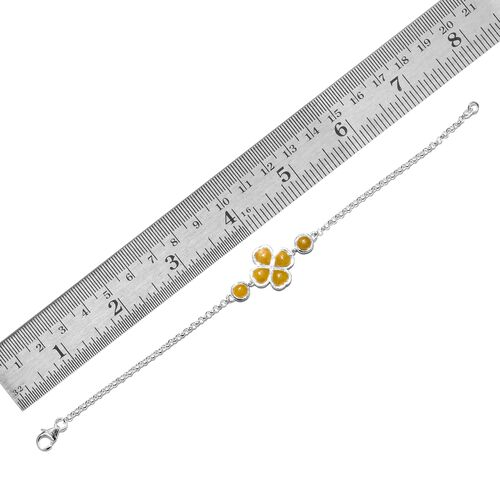 Burmese Yellow Jade (Hrt) Clover Bracelet (Size 7.5) in Sterling Silver 5.250 Ct.
