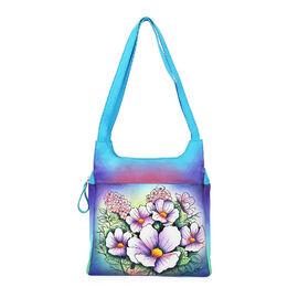 SUKRITI PERIMER Super Soft Genuine Leather Handprint RFID Protected Cherry Blossom Shoulder Bag (Siz