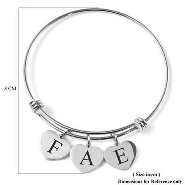 Personalised Engravable 3 Heart Charm Bangle in Silver Tone