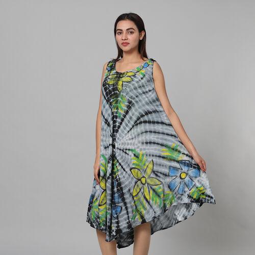 Tie & Dye Umbrella Dress in Grey and Black (Size upto 20)  Length - 120cm/47in
