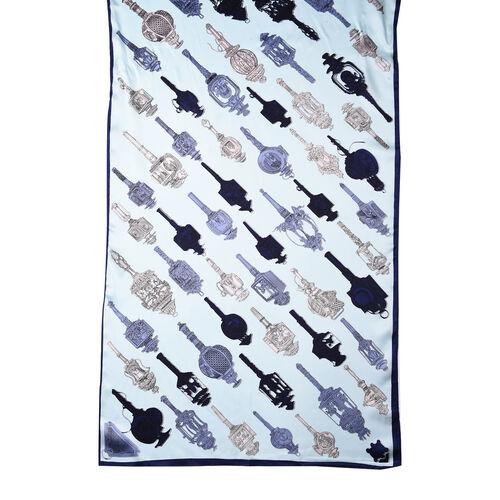 LA MAREY 100% Glossy Mulberry Silk Sceptre Pattern Blue Scarf (175x52cm)
