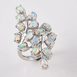 2.47 Ct Ethiopian Welo Opal Leaf Vine Bypass Ring in Platinum Plated Sterling Silver 6.50 Grams