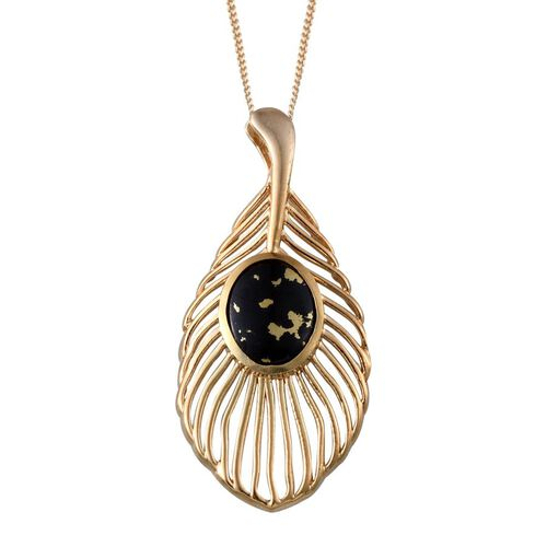 Goldenite (Ovl) Peacock Feather Pendant With Chain in 14K Gold Overlay Sterling Silver 2.750 Ct.
