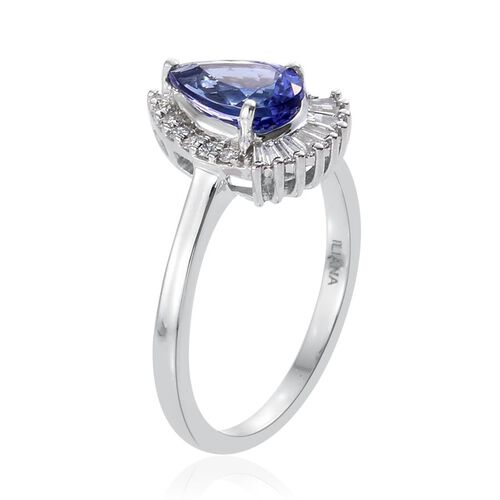 ILIANA 18K White Gold AAA Tanzanite (Pear 1.30 Ct), Diamond (SI/G-H) Ring 1.500 Ct.