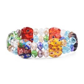 Simulated Multi Colour Gemstone and Multi Colour Murano Glass Stretchable Beads Bracelet (Size 7)
