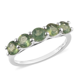 1.05 Ct Natural Green Apatite Five Stone Ring in Sterling Silver