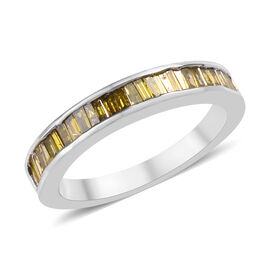 Yellow Diamond (Bgt) Half Eternity Band Ring in Platinum Overlay Sterling Silver 0.50 Ct.
