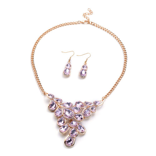 2 Piece Set - Simulated Rose Quartz and White Austrian Crystal Necklace (Size 22 with Extender) and