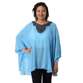 Swing Top with Embroidery Kaftan (Size 130x75cm) - Blue