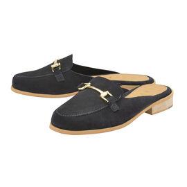 Ravel Navy Brooker Suede Backless Loafers