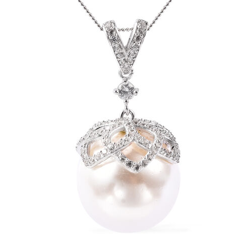 Hallitois Asinina White Pearl (Very Rare Size Rnd 18)  and Natural Cambodian Zircon Pendant with Cha