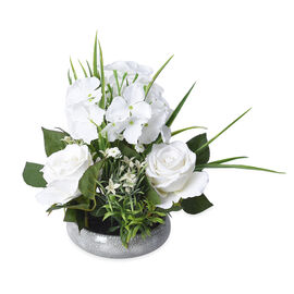 1 Head Hydrangea and 3 Heads Roses Decorative Flower Arrangement in Ceramic Pot (Height: 30Cm) - Whi