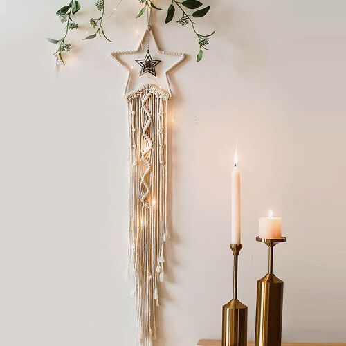 Star Shaped Dream Catcher with LED Lights in White Colour (Size 110cm)