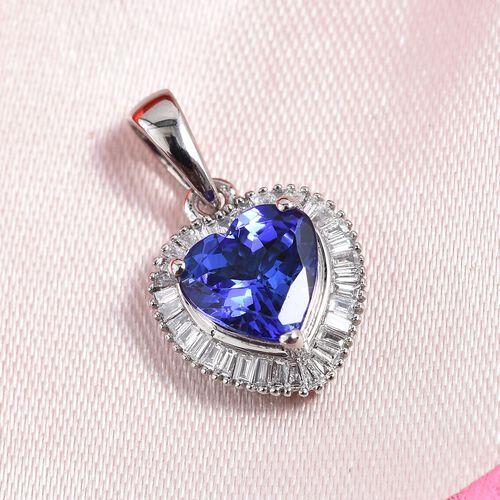 RHAPSODY 1.75 Ct AAAA Tanzanite and Diamond VS EF Heart Halo Pendant in 950 Platinum 2.80 grams
