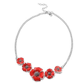 TJC Poppy Design - Black Austrian Crystal Enamelled Poppy Necklace (Size 20 with 3 inch Extender) in