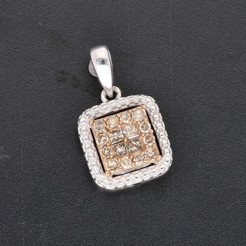 Champagne Diamond Pendant in Platinum Overlay Sterling Silver 0.33  Ct.