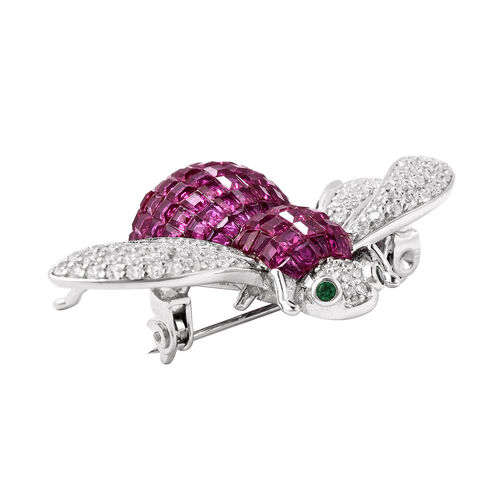 Lustro Stella - Mystery Setting Simulated Ruby, Simulated Diamond and Simulated Diopside Brooch in Rhodium Overlay Sterling Silver