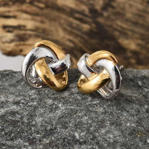 Platinum and Yellow Gold Overlay Sterling Silver Knot Earrings (with Push Back), Silver wt 3.21 Gms.