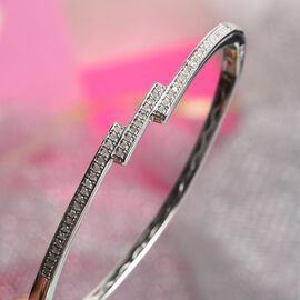 Natural Diamond Bangle (Size 7.50) in Sterling Silver 0.50 Ct, Silver wt. 13.00 Gms