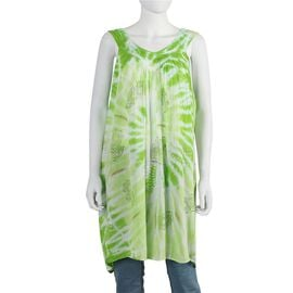 Tie-Dye Embroidered V Neck Dress - One Size Fits All: Length: 90cm - Green