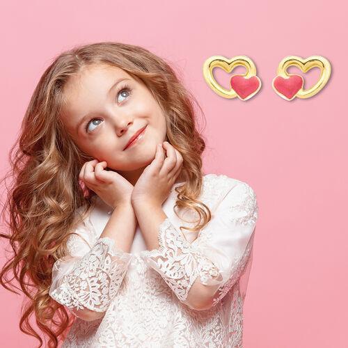 Children Pink Double Heart Stud Earrings in 9K Yellow Gold