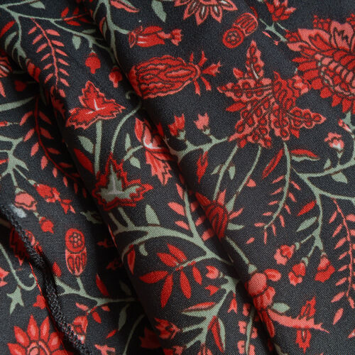 Designer Inspired - Red and Multi Colour Paisley Printed Maxi Skirt (Free Size)