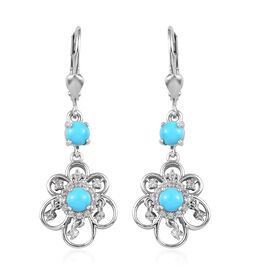 1.56 Ct Arizona Sleeping Beauty Turquoise and Zircon Floral Earrings in Platinum Plated Silver