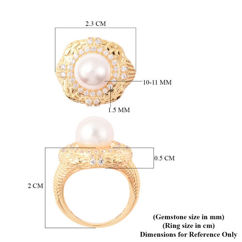 Edison Pearl and Natural Cambodian Zircon Ring in Yellow Gold Overlay Sterling Silver, Silver wt 6.57 Gms