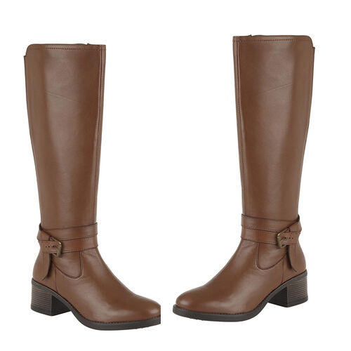 Lotus Tan Leather Janessa Knee-High Boots (Size 4)