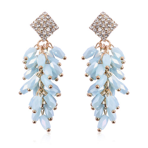 Simulated Aquamarine, White Austrian Crystal Dangling Earrings (with Push Back) in Gold Tone