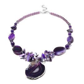 Purple Shell, Purple Quartzite, Purple Agate, Simulated Amethyst and Purple Magic Colour Beads Neckl
