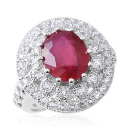 Limited Edition- African Ruby (Ovl 12x10mm, 7.30 Ct), White Topaz Ring (Size M) in Rhodium Overlay Sterling S