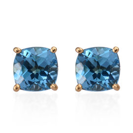 Blue Topaz (Cush) Stud Earrings (with Push Back) in 14K Gold Overlay Sterling Silver 3.500  Ct.