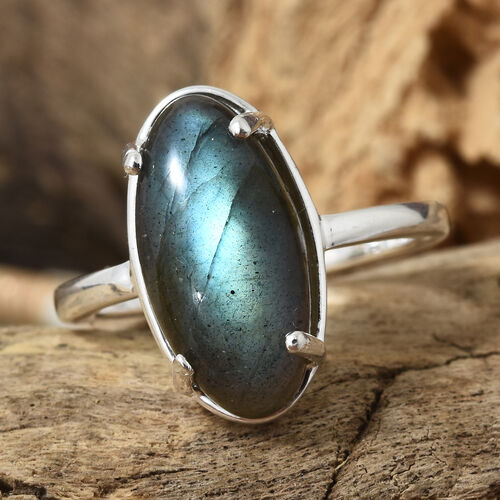 Labradorite (Ovl) Solitaire Ring in Sterling Silver 5.750 Ct.