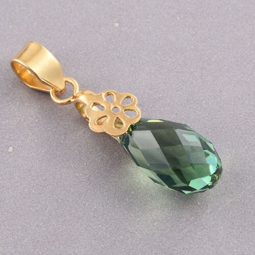 J Francis Crystal from Swarovski - Erinite Crystal Drop Pendant in Yellow Gold Overlay Sterling Silver