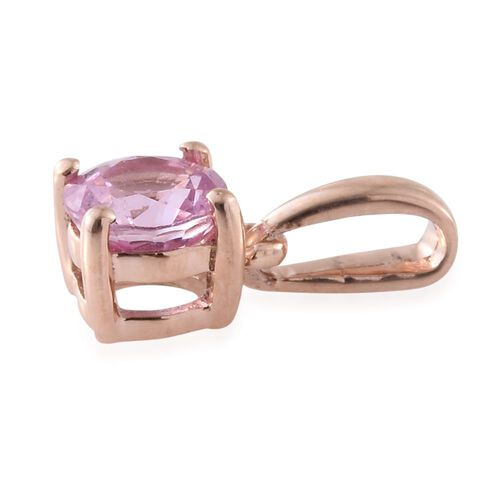 9K Rose Gold AA Pink Sapphire (Rnd) Solitaire Pendant 0.500 Ct.
