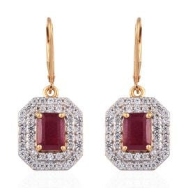 African Ruby (Oct), Natural Cambodian Zircon Lever Back Earrings in 14K Gold Overlay Sterling Silver
