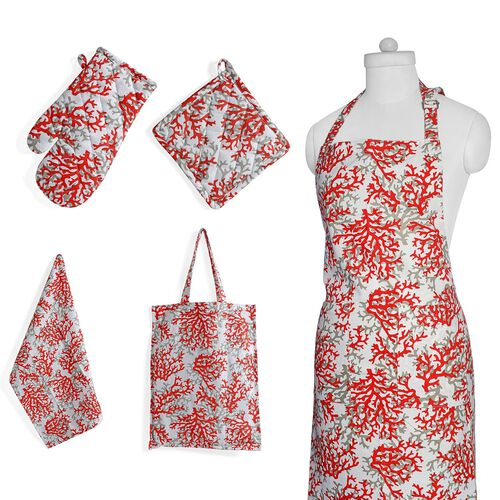 Kitchen Textiles - 100% Cotton Red, Grey and White Colour Tree Branches Printed Apron (75x65 Cm), Glove (32x18 Cm), Pot Holder (20x20 Cm), Kitchen Towel (65x40 Cm) and Bag (45x35 Cm)