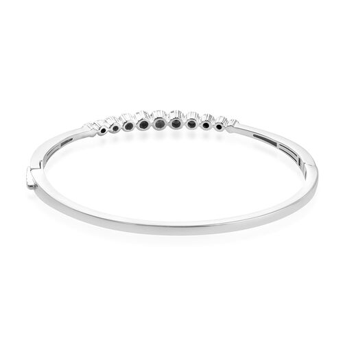 Natural Diamond Bangle (Size 7.50) in Sterling Silver 0.75 Ct, Silver wt. 15.00 Gms