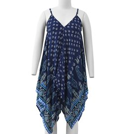 Navy Blue V-Neck Slip Dress with Cashew Flower and Water Droplet Pattern