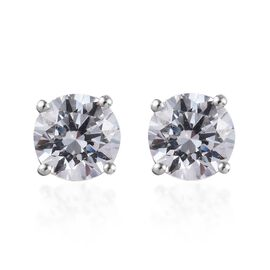 J Francis Made with SWAROVSKI ZIRCONIA Stud Earrings in Platinum Plated Silver