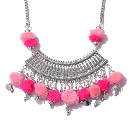Trendy Boho Style Pom Pom Necklace in Silver Plated 22 with 2 inch Extender