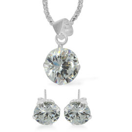 3 Piece Suite -  ELANZA Cubic Zirconia  (Rnd 8mm) Earrings and Pendant withSterling Silver Snake Nec