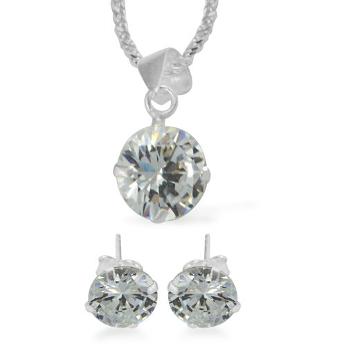 3 Piece Suite -  ELANZA Cubic Zirconia  (Rnd 8mm) Earrings and Pendant with Sterling Silver Snake Ne