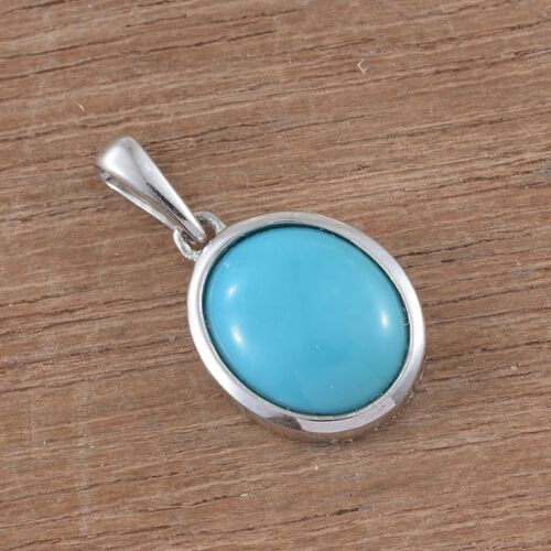 9K White Gold AA Arizona Sleeping Beauty Turquoise (Ovl) Solitaire Pendant 2.500 Ct.