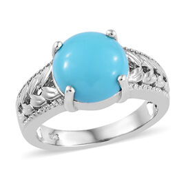 Arizona Sleeping Beauty Turquoise (Rnd 10 mm) Solitaire Ring in Platinum Overlay Sterling Silver 3.0