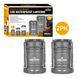 Set of 2 - Ultra Bright COB Lantern in Grey (Size 11x8cm Extendable upto 18cm)  (AA Battery not incl
